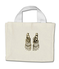 Bags with images of the bones of the human foot
