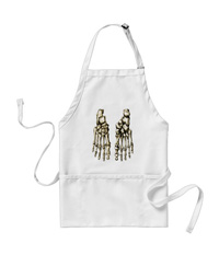 Aprons with bones of the human foot