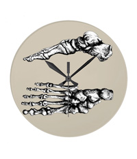Clocks with bones of the human foot