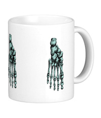 Mugs with colourful bones of the human foot