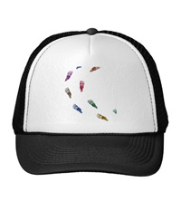Hats with images of bones of the human foot