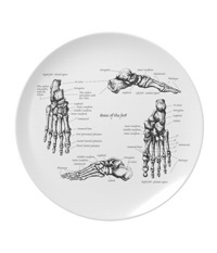 Party Plates with human foot bone designs