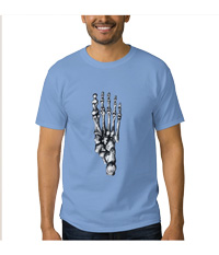 Bones of the human foot, men's tee shirts